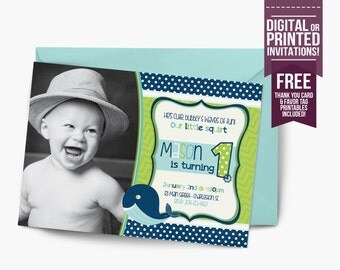 whale Birthday Invitation, first birthday party invitation, whale party, party invitation printable, FREE thank you card