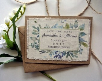 Rustic Wedding Save the Date Invitation Art Deco Watercolor Leaves Save the Date