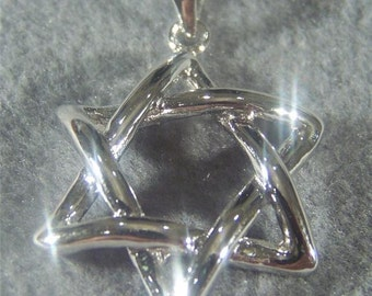 Vintage Sterling Silver Bold Star of David Pendant Charm Jewelry **RL