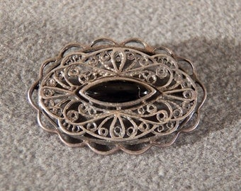 Vintage Sterling Silver Marquise Black Onyx Fancy Filigree Pin Brooch Jewelry **RL