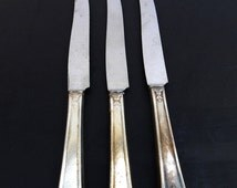 20% OFF SALE 3 Vintage Hollow Dinner Knifes Large 1847 Rogers Bros Insico Stainless Flatware Silverware