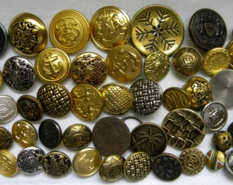 50 Fancy Vintage Metal Buttons - Steampunk - Altered Art - Scrapbook - Craft & Jewelry Supply