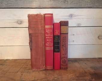 Vintage Red Decorative Books || Red Book Decor || Rustic Vintage Book Collection || Red Book Stack