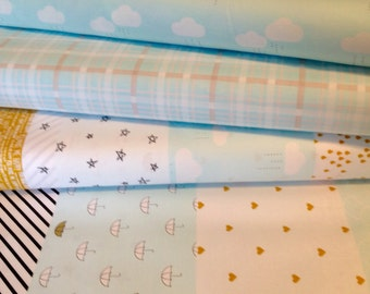 Blue Sky Sparkle Fabric Fat Quarter Fabric Bundle (3 Fabrics) Riley Blake/When Skies Are Grey/Simple Simon & Co/Blue Clouds Plaid And Stripe
