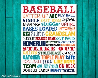 Baseball Wall Art Decor Sign Party