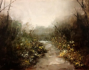 """Original Landscape Oil Painting """"The River in the Woods"""" 5 in. x 7 in. Impressionist Tonalist River Trees Bob Kimball Art"""