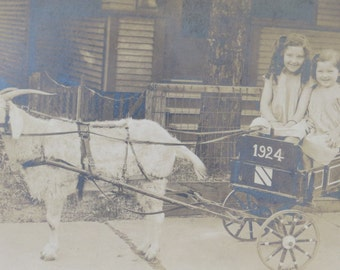 Sweet 1920's Little Children And Their Goat Cart Street Photo - Free Shipping