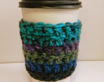 Coffee Cup Sleeve Cozy Take Out Coffee Cup Sleeve Cozy Take Out Cup Cozy Crocheted Coffee Cup Sleeve Blue Coffee Cup Sleeve Hand Made