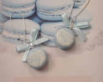 earrings macarons lace blue