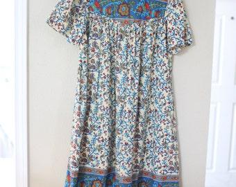 vintage blue floral bohemian tunic dress