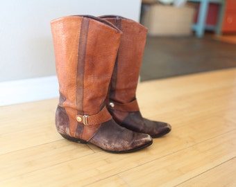 vintage dingo brown leather riding boots womens 8 *