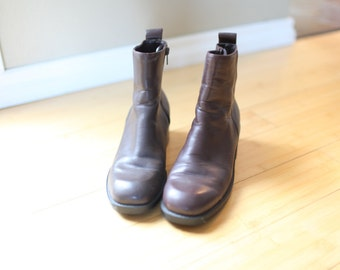 vintage brown leather ankle  boots womens  7 1/2