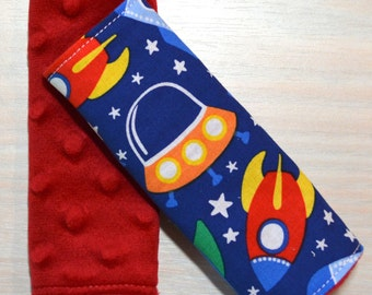 Car Seat Strap Covers - Rocket Ships, red blue orange