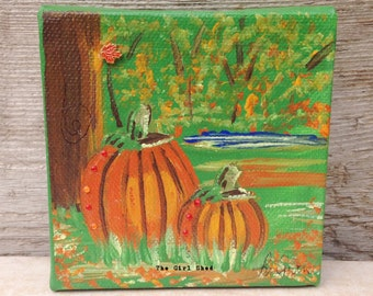 Mini Painting on Canvas-Pumpkins
