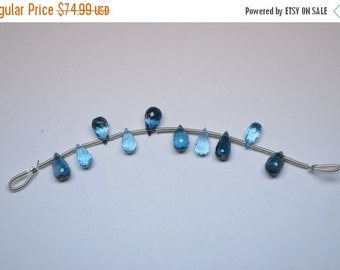 35%Dis 9mm-10 Beads Amazing AAA Quality Natural London&Swiss Blue Topaz MicroFaceted Teardrops Shape Briolette Beads