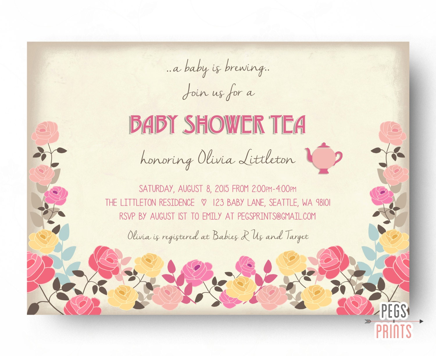 floral baby shower tea party invitation floral baby shower
