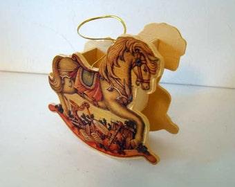 Rocking horse Christmas ornament, Christmas ornament gift box, wooden rocking horse ornament