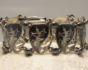 Nice vintage traditional Asian Siam sterling silver enamel dancer panel link bracelet