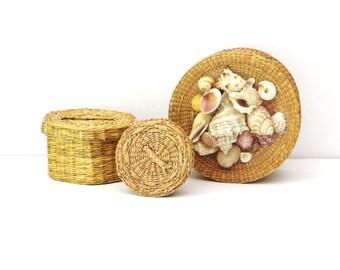 Set of 3 Woven Seagrass Basket with Lid Nesting Storage Basket Shell Lid Basket