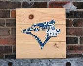 Toronto Blue Jays Art Decor - Handmade Vintage Industrial License Plate Art - Natural Pine