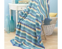 Shades of Aqua, Blue, Teal, and Sand Rolling Waves Afghan Crochet Afghan Kit BRAND NEW (sealed) with instructions and yarn