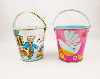 Your Choice - Two Sand Buckets From 'Ohio Art' - Fishing Cartoon or Pop Art Flowers - Vintage 1950s and 1960s Display - Play With Them