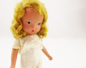 A 'Nancy Ann' Story Book Doll - Wearing Muslin Undies  - Bisque, Mid '40s Doll - Golden Blonde Hair - Doll Collector