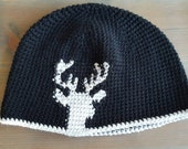 Black and Gray Deer Hat - Large Man's Beanie - Man's Hunting Hat