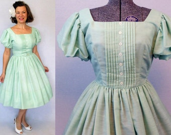 50s Dress / 1950s Dress / 50s Day Dress / 1950s Day Dress / Jonathan Logan Dress  / New Look Dress / Full Skirt Dress / Green Dress / W 26""