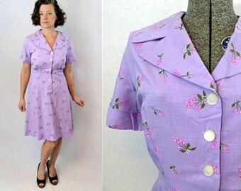 "50s Dress / 1950s Dress / Cherry Print Dress / 50s Day Dress / 1950s Day Dress / Day Dress / Novelty Print / Purple Dress / Summer / W 34"""