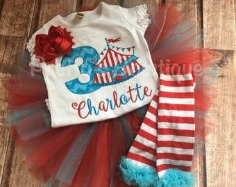 Girls Circus Birthday outfit -- Circus birthday outfit -- Shirt or One piece, legwarmers, headband and matching tutu