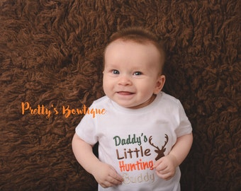 Daddy's Little hunting buddy shirt/bodysuit camo--deer hunting-little hunter-- Boys hunting shirt-- Camo Boys -- Hunting shirt -- Baby boy