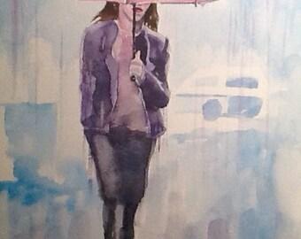 "Original Watercolour Painting,""Purple Rain"" ,free shipping 9x12"