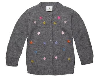 Alpaca Wool Blend Lily Toddler Cardigan | Wool Blend Girl Cardigan | Knitted Girl Cardigan