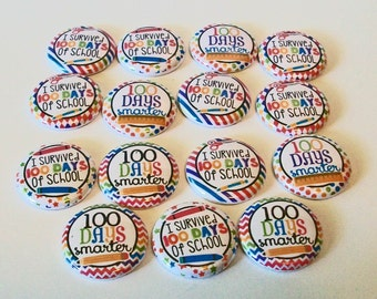 Set of 15 Colorful 100 Days of School 1 Inch Flat Back Embellishments Buttons Flair