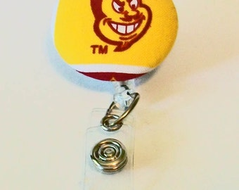 Maroon and Gold Devils  Inspired Fabric Button Retractable Badge Reel Clip
