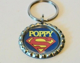 Super Poppy Red and Blue Granfather Metal Flattened Bottlecap Keychain Great Gift