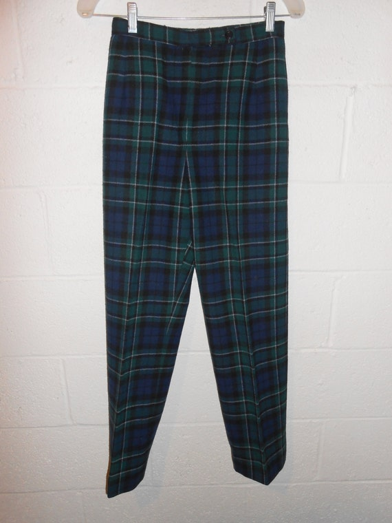 Perfect 70s Plaid Pants Vintage Green Plaid Flared Trousers Sears