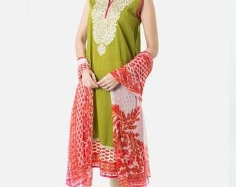 Original khaadi shirt with dupatta ..embroidery on neckline