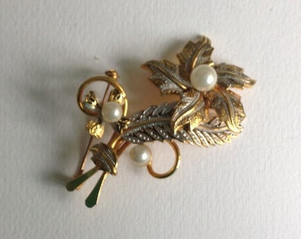 Damascene & Faux Pearl Flower Brooch  - Gifts for her - Christmas