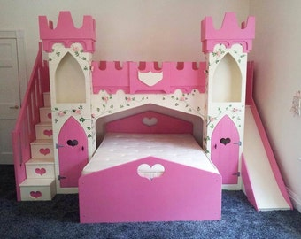 Children's Princes Castle Bunk Bed with Slide, Stairs & Artwork