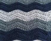 Custom Order For Meredith | Navy Waves Crochet Blanket