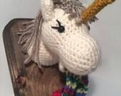 Amigurumi Crochet Taxidermy -  Small Rainbow Puking Unicorn