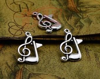 Fashion Retro Antique Silver  Music Charms Pendant  25pcs 21x13mm  Note charm