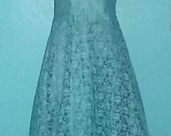 Vintage 1950s Caribbean Blue Lace Formal Dress — Size Medium, 8-10