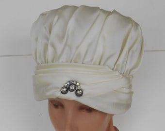 Vintage Ranleigh Hat - Cream Satin with Rhinestone Pin