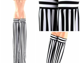 Stilt Covers in Black & White Stripe Spandex Stilting Leg Covers Cirque Costume 152832