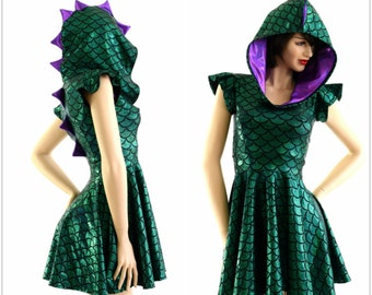 Green Dragon Scale Flip Sleeve Hoodie Skater Dress with Grape Holographic Spikes & Hood Liner 153914