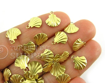 200 Pc Raw Brass Mini Shell Charms, Tiny Shell Drop Charm Findings, High Quality Raw Brass Findings