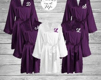 Monogrammed, titled or plain bridesmaid robes, bridal robe, dressing gowns, wedding party robes, pink, navy, champagne, plum, mint aqua teal